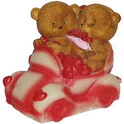 Enchanting Couple Teddy with Hearts in a Car