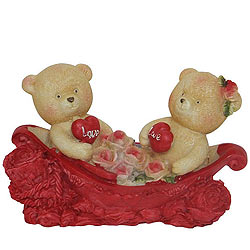 Luminous Couple Teddy With Two Hearts and Roses in a Boat