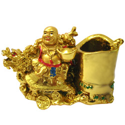 Dragon Boat Laughing Buddha Pen Stand