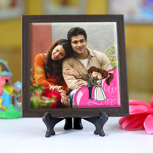 Lovely Personalized Photo Square Tile