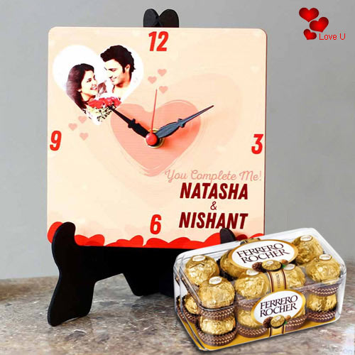 Exclusive Personalized Photo Table Clock with Ferrero Rocher Chocolates