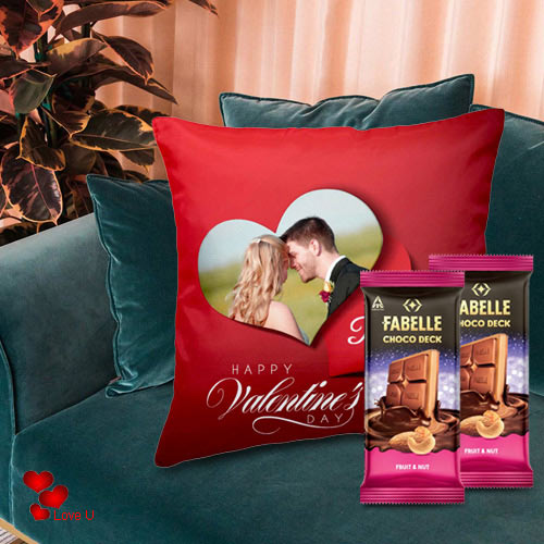 Special Personalized Cushion with ITC Fabelle Chocolate Twin Bars