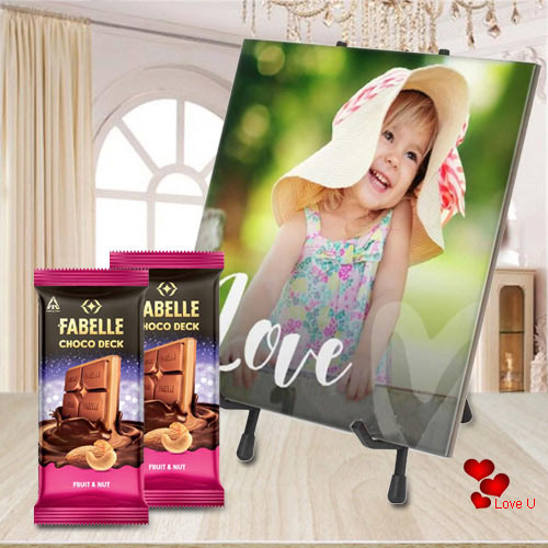 Lovely Personalized Photo Tile with ITC Fabelle Twin Chocolates