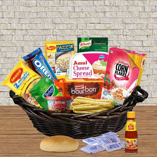 Cheerful Food Gift Basket with Love