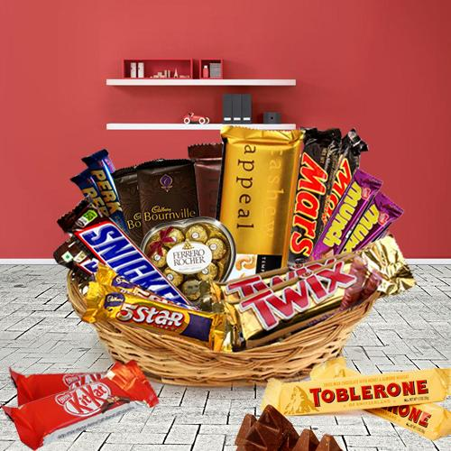 Delectable Basket of Assorted Chocolates