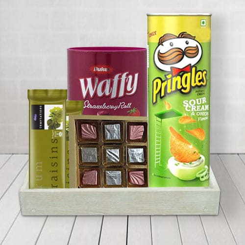 Delightful Basket of Sweet  N  Savory Treat for Him