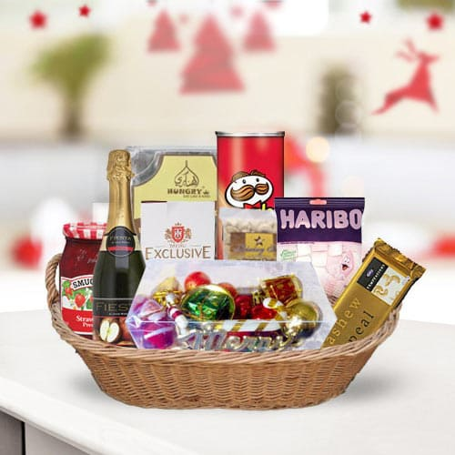 Wholesome Sweet N Savory Gift Basket for Anniversary Celebration