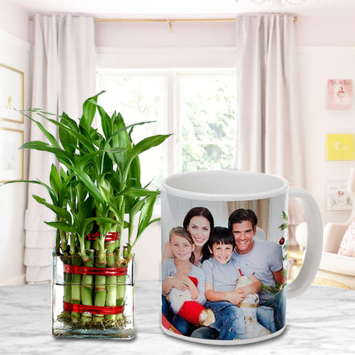 Two Layered Good Fortune Bamboo Stalks in Personalized Coffee Mug