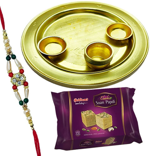 Soan Papri from Haldiram with Silver Plated Thali and  free Rakhi, Roli Tilak and Chawal