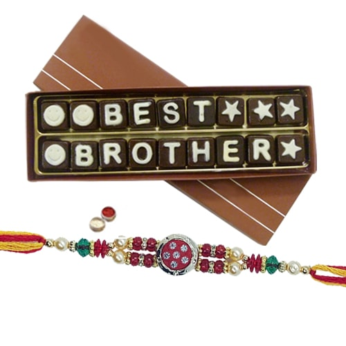 Fancy Rakhi with Best Brother Chocolate Pack 18 pcs.
