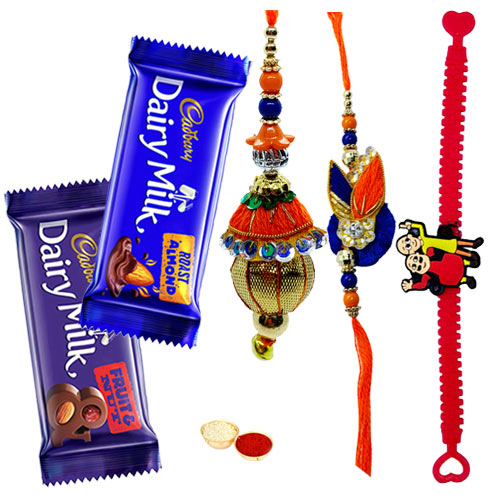 Enchanting Family Rakhi Set with Cadbury Dairy Milk Chocolates