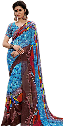 Colorful Marbel Chiffon Designer Sari for Women