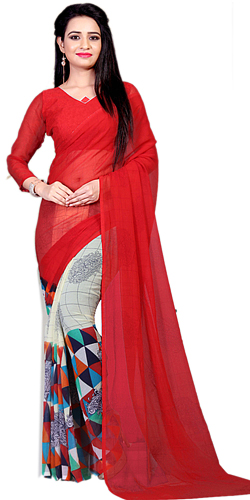 Glamorous Marble Chiffon Red Color Sari for Lovely Ladies