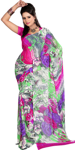 Fabulous Floral Printed Saree in Grey and Pink Colour