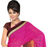 Designer Pink, Chrome and Brown Coloured Gorgettee Printted Saree