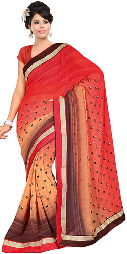 Eye-Catching Fire Orange, Cream and Brown Coloured Georgette Printed Saree