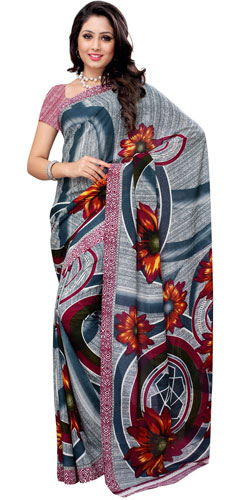 Magnificent Coloured in Teal and White Renial Georgette Printed Saree