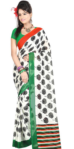 Attractive White Coloured Dani Georgette Printed Saree with Floral Decors