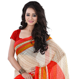 Exotic Beige and Red Coloured Georgette Printed Saree