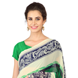 Astonishing Green and Blue Weightless Georgette Floral Printed Saree