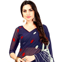 Classic Party-wear Chiffon Printed Sari in Navy Blue and Red Color<br>