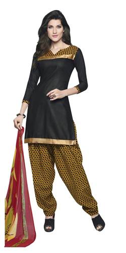 Exclusive Black and Yellow Shaded Cotton Printed Patiala Suit