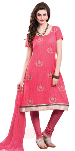 Enticing Pink Colored Chiffon Embroidered Salwar Kameez
