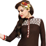 Flattering Collection of Brown Cotton Printed Suit