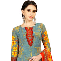 Colorful Spun Cotton Salwar Suit in Floral Print for Lovely Ladies<br>