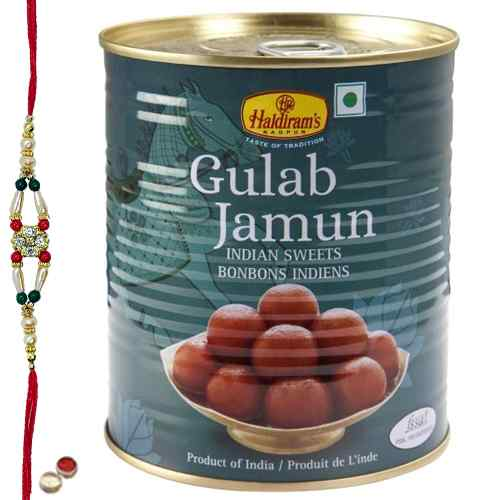 Relishing Haldiram Gulab Jamun with Free Rakhi, Roli Tilak and Chawal