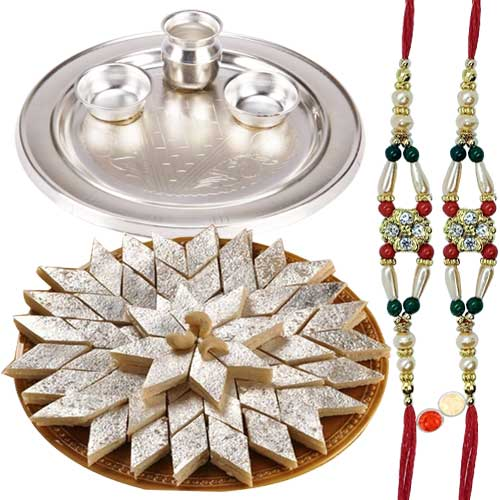 Silver Plated Thali having Haldirams Badam Katli and 2 free Rakhi, Roli Tilak and Chawal