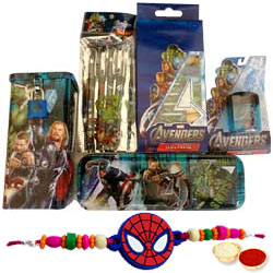 Marvels Avengers 19 pcs Stationery Set for Boys with Spider Man Rakhi and Roli, Tilak and Chawal.