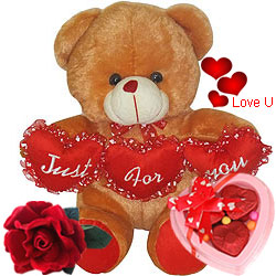 Valentine Gift of Brown Teddy with Rose N Chocolate