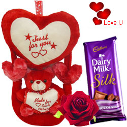 Delightful Swinging Heart with Love Teddy N Exotic Red Rose
