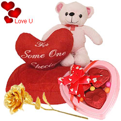 Charming Eric on Heart Fancy Teddy with a Golden Rose and 3 Pcs Heart Shape Chocolates