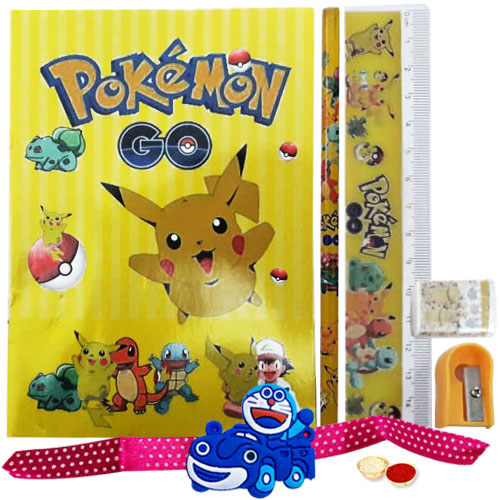 Pokemon Stationery Set with Doremon Rakhi with Roli, Tilak and Chawal.