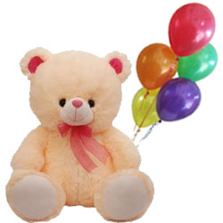 Cute Cuddle Up Love Teddy with Balloons