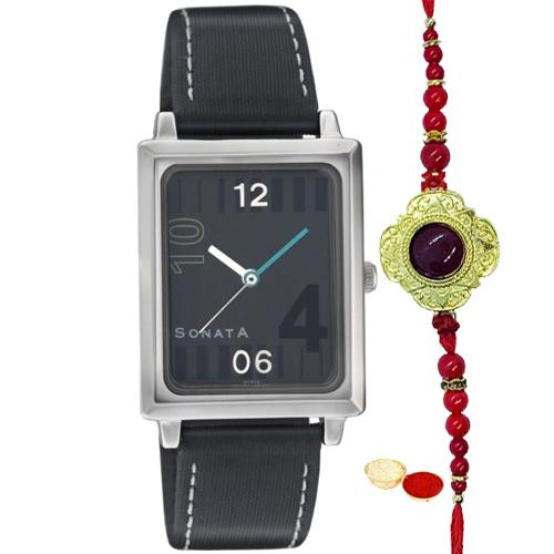 Square dial in black combination  with style for gents from Titan Sonata with One Rakhi and Roli, Tilak and Chawal.