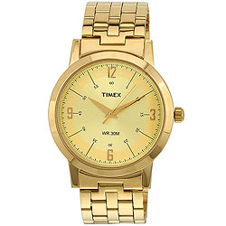 Attractive Golden Coloured Gents Watch with Round Dial from Timex