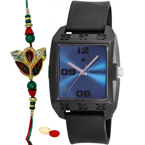 Marvelous Titan Fastrack Gents Watch with One Rakhi and Roli, Tilak and Chawal.