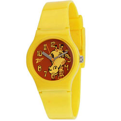 Enticing Animal Printed Yellow Coloured Kids Watch Presented by Titan Zoop