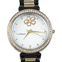 A Ladies Black & Gold Color Watch adorned with Dazzling Stones