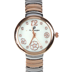 A Designer Womens Watch of Silver & Rose Gold Plating  embellished with American Diamonds