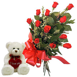 12 Sizzling Red Roses with an Adorable Small Teddy
