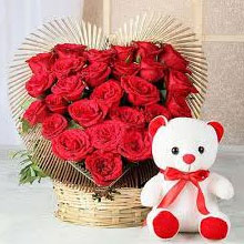 Flowers with Teddy Delivery in India