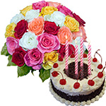 Enticing Black Forest Cake From Taj or 5 Star Bakery with Sensational Roses
