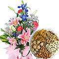 Stunning Fresh Seasonal Flowers with Mouthwatering Mixed Dry Fruits