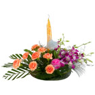 Fantastic 8 Carnations and Splendid Orchids with Candle