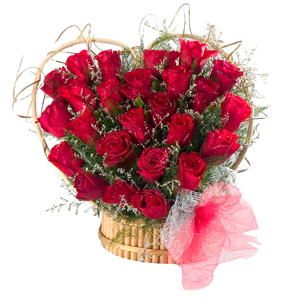 24 Red Roses Heart Shaped Arrangement
